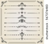 vintage set of decorative... | Shutterstock .eps vector #567376483