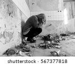 sitting women in depression ...   Shutterstock . vector #567377818