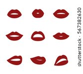 woman's lip icons. red on a... | Shutterstock .eps vector #567382630