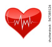 illustration of heart with pulse | Shutterstock .eps vector #567385126