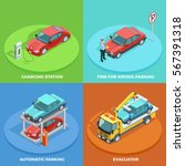 parking isometric collection... | Shutterstock .eps vector #567391318