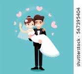 vector illustration of a bride... | Shutterstock .eps vector #567395404