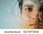 young man's eye and technology... | Shutterstock . vector #567397858