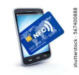 phone and card nfc on white...   Shutterstock . vector #567400888