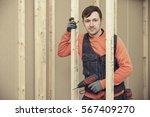 portrait of young contractor... | Shutterstock . vector #567409270