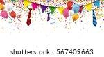 header with confetti  festoons  ... | Shutterstock .eps vector #567409663