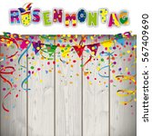 german text rosenmonatg ... | Shutterstock .eps vector #567409690