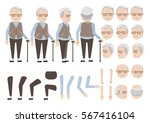 old man relies on cane... | Shutterstock .eps vector #567416104