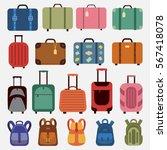 Icons Luggage. Flat Style....