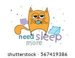Stock vector sleepy red cat doodles need sleep more 567419386