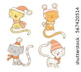 Cute Cartoon Cats Set. Four...