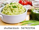 green mashed potatoes in a... | Shutterstock . vector #567421936