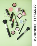 make up products arranged on a... | Shutterstock . vector #567422110