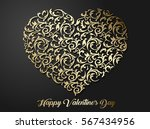 golden heart shaped floral... | Shutterstock .eps vector #567434956