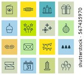 set of 16 happy new year icons. ... | Shutterstock .eps vector #567435970