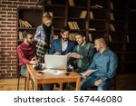 business team discussing a new... | Shutterstock . vector #567446080