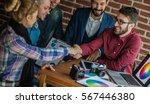 handshake of the advertising... | Shutterstock . vector #567446380
