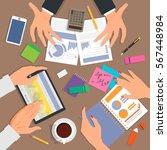 business desk top view. work... | Shutterstock .eps vector #567448984