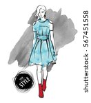 sketch. fashion girls on a...   Shutterstock .eps vector #567451558
