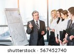 head of business team explains... | Shutterstock . vector #567452740