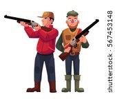 two hunters  one in vest... | Shutterstock .eps vector #567453148