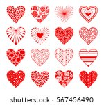 decorative hearts with ornament ... | Shutterstock .eps vector #567456490