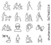 set of disabilityrelated vector ... | Shutterstock .eps vector #567460114