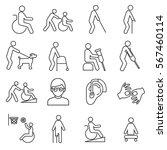 set of disabilityrelated vector ... | Shutterstock .eps vector #567460114