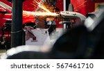 welding industrial  worker in... | Shutterstock . vector #567461710