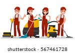 workers of cleaning company.... | Shutterstock .eps vector #567461728