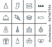 set of 16 christmas icons.... | Shutterstock .eps vector #567467554
