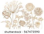 bouquet of spring flowers... | Shutterstock .eps vector #567473590