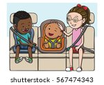 three kids in the backseat... | Shutterstock .eps vector #567474343