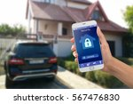 smartphone with home security... | Shutterstock . vector #567476830