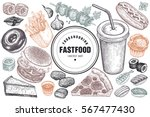 food and drink. burger  fries ... | Shutterstock .eps vector #567477430