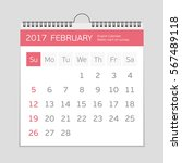 2017 february calendar template.... | Shutterstock .eps vector #567489118