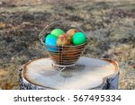 Bright Colorful Easter Eggs In...