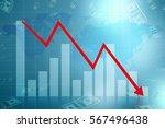 graph down income arrow.... | Shutterstock . vector #567496438