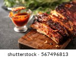 delicious barbecued ribs... | Shutterstock . vector #567496813