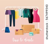 clothes donation. girl makes... | Shutterstock .eps vector #567499540