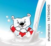 cute ice bear swim on milk... | Shutterstock .eps vector #567504040