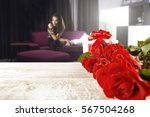 valentine roses on desk and... | Shutterstock . vector #567504268