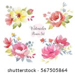 watercolor floral bouquets set... | Shutterstock . vector #567505864