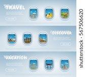 traveling by plane. landmarks... | Shutterstock . vector #567506620