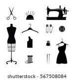 tailor shop icons  scissors ... | Shutterstock .eps vector #567508084
