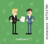 two business partners signing a ... | Shutterstock . vector #567511780