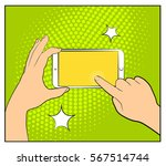 comic phone with halftone... | Shutterstock .eps vector #567514744