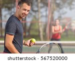 woman playing tennis and... | Shutterstock . vector #567520000