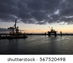sunrise in the harbour of las... | Shutterstock . vector #567520498