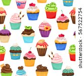 chocolate cupcakes with... | Shutterstock .eps vector #567522754